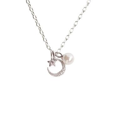 甜美星月珍珠合金項鍊
