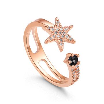 神秘耀眼星星鑲鑽開口戒指