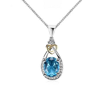 蔚藍之心水滴亮鑽合金項鍊