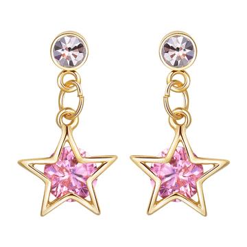 閃亮氣質鑽石星星 耳針/無耳洞黏貼式耳環