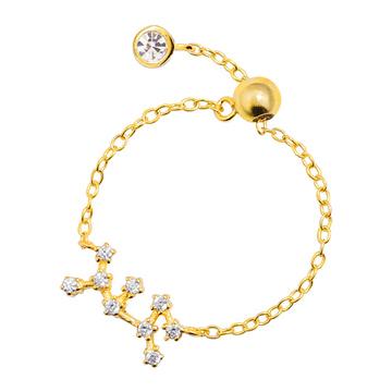 時尚個性十二星座鑲鑽戒指鍊