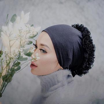 穆斯林蕾絲花朵便捷打底帽