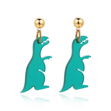 搞怪壓克力恐龍黏式黏式耳環