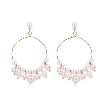 簡約氣質珍珠簍空圓環 耳針/ 無耳洞黏貼式耳環