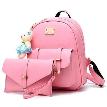 清新時尚小熊吊飾多用途子母後背包