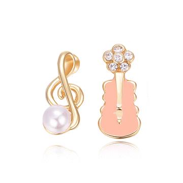 少女系珍珠音符小提琴不對稱黏式耳環