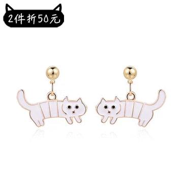 【2件折50元】搞怪萌趣白色條紋小貓 耳針/黏式耳環