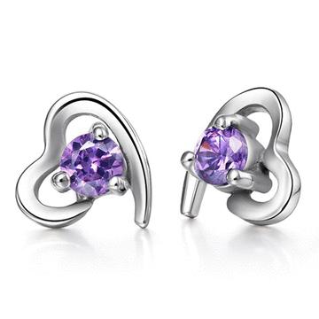 璀璨愛情紫水晶 耳針/無耳洞黏貼式耳環