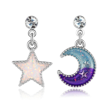 日系魔幻童趣星星月亮 耳針/黏式耳環