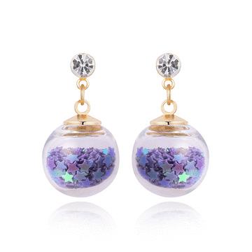 【專區3件★85折】透明玻璃球閃耀亮片 耳針/黏式耳環