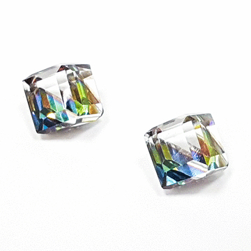 極簡透亮立方水晶 無耳洞黏貼式耳環