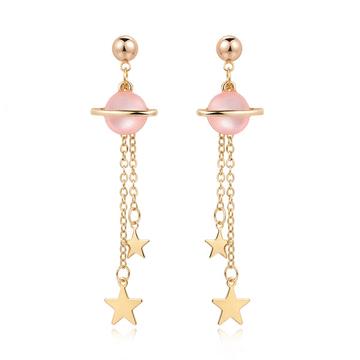 可愛炫彩宇宙星星 耳針/黏式耳環