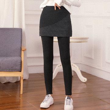 MIT台灣製-假兩件拼接短裙內搭褲
