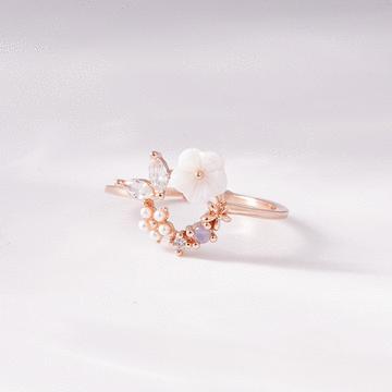 甜美鑲鑽花環開口戒指