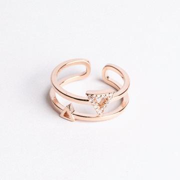 三角雙層鑲鑽開口戒指