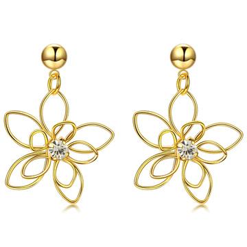 氣質立體編織簍空花朵 無耳洞黏貼式耳環
