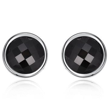 極簡吸睛黑色亮鑽 耳針/無耳洞黏貼式耳環