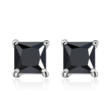韓流方形鑲鑽黏式耳環