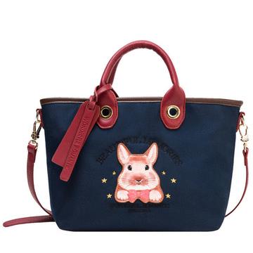 休閒可愛萌兔帆布側背手提包