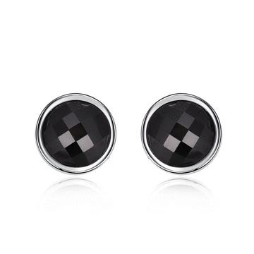 極簡吸睛黑色亮鑽 耳針/黏式耳環