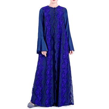 穆斯林蕾絲寶藍喇叭袖長裙