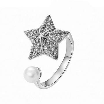 旋轉珍珠傘形海星開口戒指