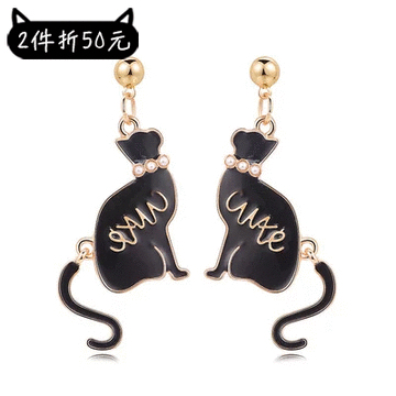 【2件折50元】舞動珍珠黑色小貓 黏式耳環