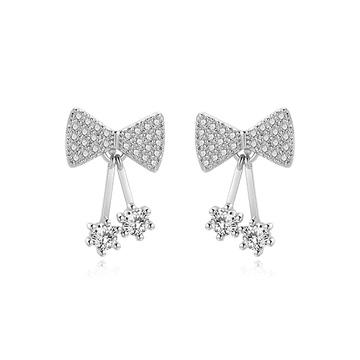 【2件85折】可愛甜美蝴蝶結水鑽 黏式耳環