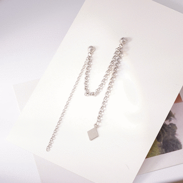 韓版單邊菱形鏈條 耳針/無耳洞黏貼式耳環