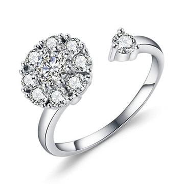 旋轉浪漫鑲鑽開口戒指