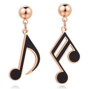 新清文藝音符 耳針/無耳洞黏貼式耳環