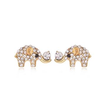 萌趣可愛閃耀滿鑽小象黏式耳環