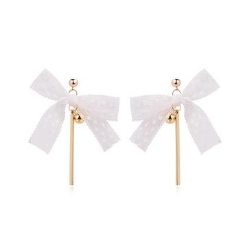 【2件折60元】氣質蕾絲緞帶蝴蝶結黏式耳環