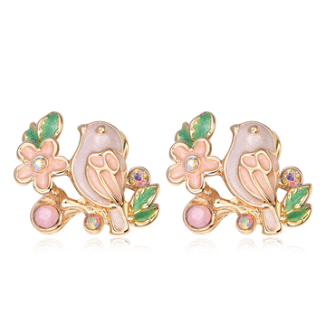 【結帳6折】春漾可愛花鳥 無耳洞黏貼式耳環
