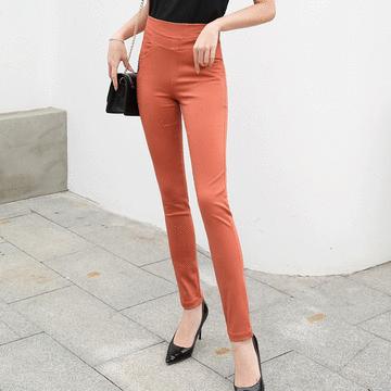 MIT台灣製造-純色休閒彈性高腰長褲