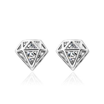 個性鑽石造型黏式耳環