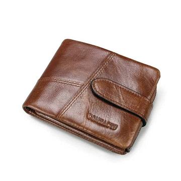 拼接可拆式零錢包男士短款皮夾