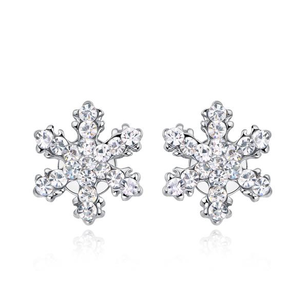 STK137 可愛亮麗滿鑽雪花黏式耳環