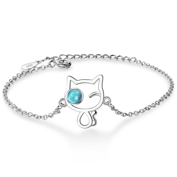 BRC040 森系女孩水晶小貓手鍊