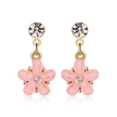 粉嫩鑲鑽花瓣 黏式耳環
