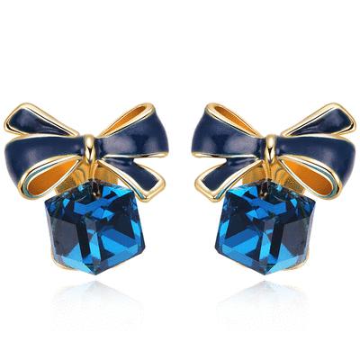 浪漫方塊水晶蝴蝶結 耳針/無耳洞黏貼式耳環