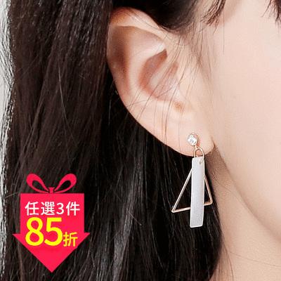 【專區3件★85折】時尚透亮長形天然貝殼 耳針/黏式耳環