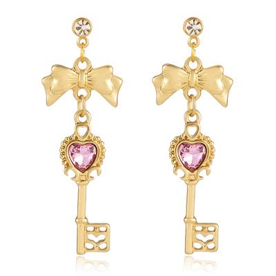 日系童話仙境鑰匙造型無耳洞貼式耳環