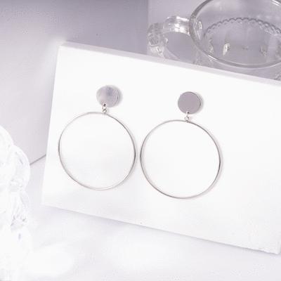 氣質簡約金屬圓環 無耳洞黏貼式耳環