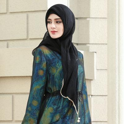 穆斯林雪紡折皺珍珠款方頭巾