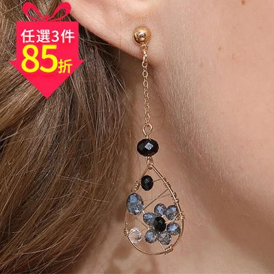 【專區3件★85折】水滴金屬纏線鑲鑽 耳針/黏式耳環