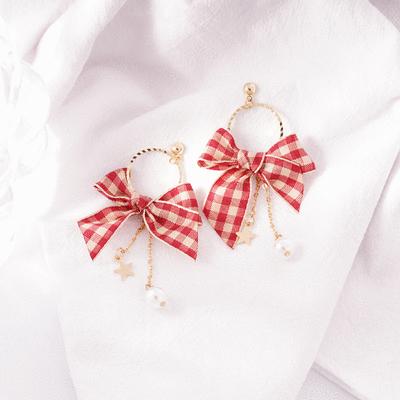 英格蘭紅格蝴蝶結 耳針/無耳洞黏貼式耳環