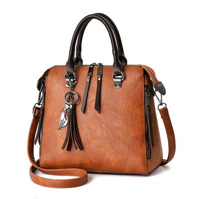 時尚復古雙拉鏈流蘇手提包