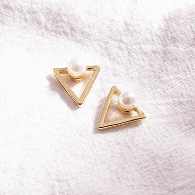 簍空金三角珍珠 耳針/無耳洞黏貼式耳環