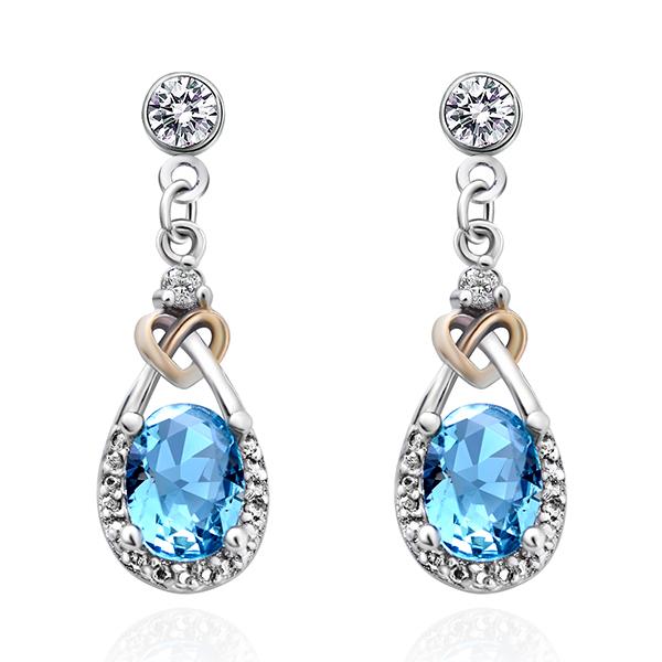 STK108 蔚藍之心水滴亮鑽 耳針/無耳洞黏貼式耳環